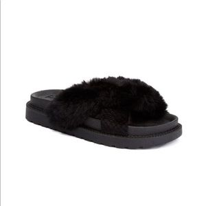 JOES • faux fur criss cross slide sandals